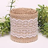 KINGLAKE® 2M Natural Burlap Ribbon with Lace for Craft Rustic Wedding Belt Strap Craft Jute Hessian