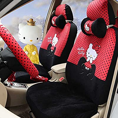 Hello Kitty 18pcs Red+black Winter Comfortable Universal Car Seat Covers Car Steering Wheel Cover