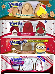Peeps Super Holiday Bundle of 4 Flavors: Sugar Cookie, Red Velvet, Hot Cocoa, and Candy Cane