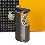 New COHIBA Silver Grey Finish Touch Induction 3 Torch Jet Flame Cigar lighter W/ Punch (Sliver) (Color: Sliver, Tamaño: 25*30*85mm)