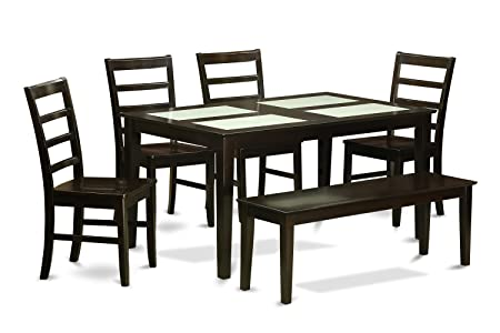 East West Furniture CAPF6G-CAP-W 6-Piece Dining Room Table Set with Bench
