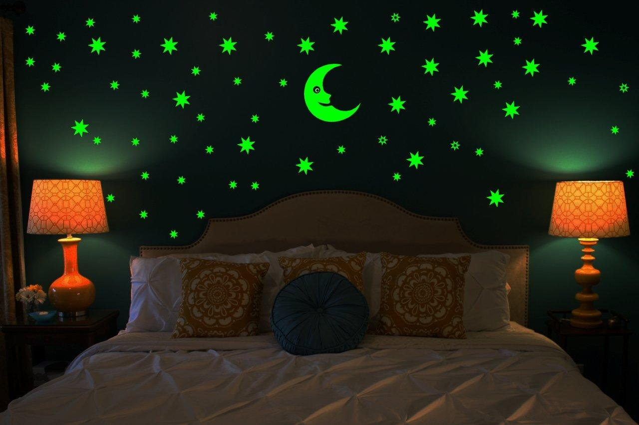 Wall stickers glowing - Buy Wall Whispers Sticker Moon And 69 Star Glow In The Dark Glowing Sticker High Quality Online At Low Prices In India Amazon In