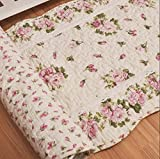 Ustide Rustic Rose Flowers Area Carpet,home Decor Cotton Pink Roses Pattern Bedroom Floor Rugs,unique Quilted Washable Bathroom Rug 2x4
