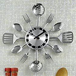 Contemprary Kitchen Utensil Clock-Silver-Toned Forks, Spoons, Spatulas Wall Clock - Kitchen Décor, Unique Fun Gift