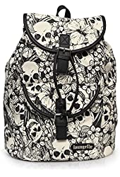Loungefly Back Pack Floral Skull Canvas Backpack Purse School Bag Black and White