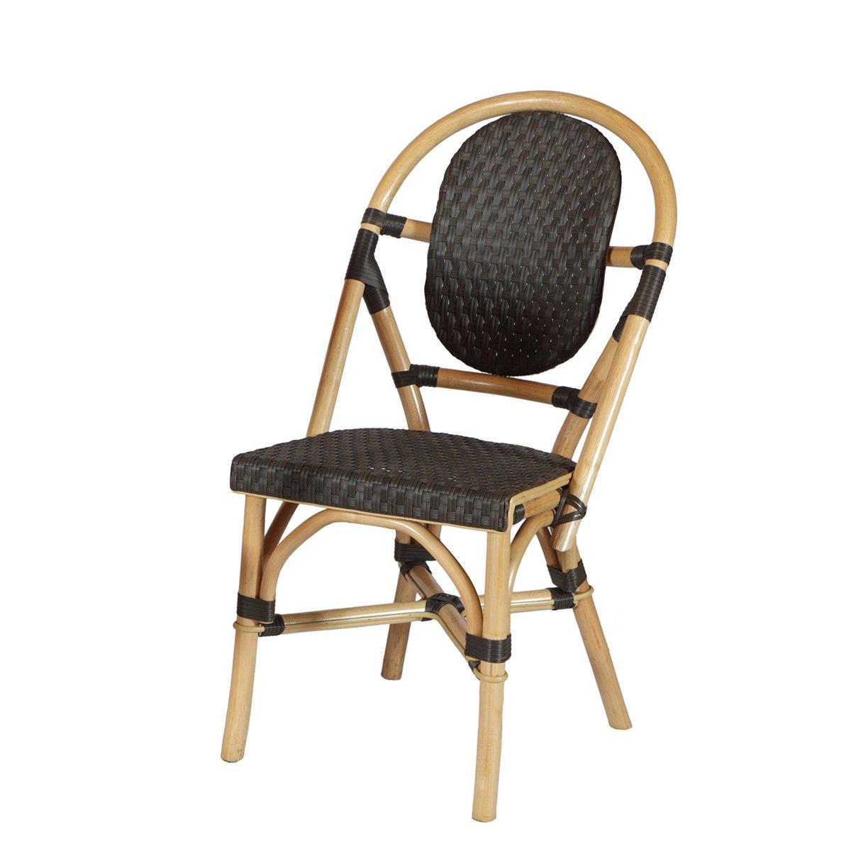 Rattan-Stuhl BISTRO Schwarz n°1 – Rattan Terrassenmöbel – Polyrattan/Bambus – Schwarz jetzt bestellen