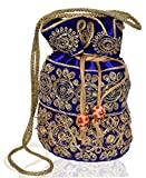 #8: Purpledip Traditional Silk Potli bag for Women,Blue (10536)