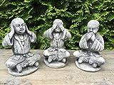 Gartenfigur Steinfigur Figur Deko Garten Buddha Mönche die drei Weisen