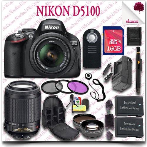 Nikon D5100 Digital Slr Camera With 18-55Mm Af-S Dx Vr (Black) + Nikon 55-200Mm Af-S Dx Vr Lens + 16Gb Sdhc Class 10 Card + Wide Angle Lens / Telephoto Lens + 3Pc Filter Kit + Slr Camera Backpack + Wireless Remote 21Pc Nikon Saver Bundle