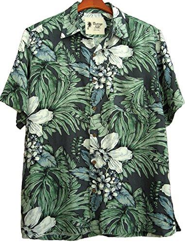 Mens Silk Camp Shirt Grey Hawaiian Cool Casual Floral Aloha 0