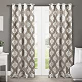 """Exclusive Home Medallion Blackout Thermal Grommet Top Window Curtain Panels - 52"""" x 84"""", Taupe, Sold As Set of 2 / Pair"""