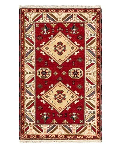 Hand-Knotted Royal Kazak Wool Rug, Red, 3' 1 x 4' 11