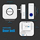 Roybens Wireless Doorbell Door Chime [1000 Feet][52 Chimes][4-Level Volume][LED Indicators][IP44 Waterproof Transmitter][1 Button, 1 Receiver] -White