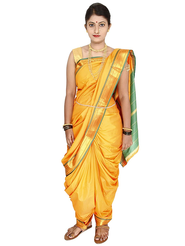 Womens Cottage Ready To Wear 9 Mtrs Nauvari Yellow Silk Saree