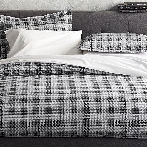 crate-barrel-linde-gray-plaid-houndstooth-cotton-duvet-cover-king-or-full-queen-king