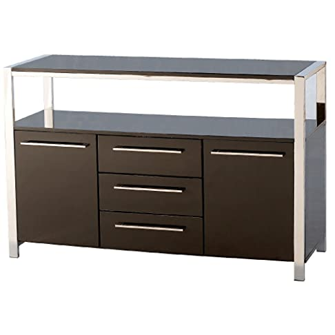 Charisma High Gloss 2 Door Sideboard in Black - Color: Black by Seconique