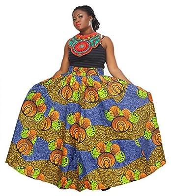 African Planet Women's Wax Skirt Kenya Inspired Elastic Printed Waist Maxi