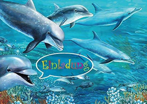 8-er-Set-Delfin-Einladungskarten-10690-zum-Kindergeburtstag-oder-zur-Bade-Party-Aquarium-Zoo-Besuch