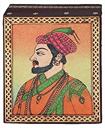 DollsofIndia Shahjahan - Jewelry Box with Gemstone Painting - Crushed Gemstone Art on Wood