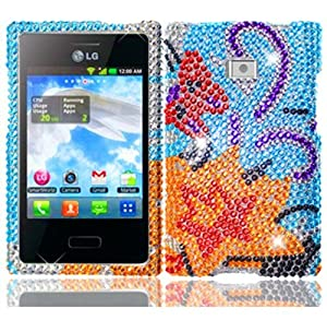 For LG Optimus Logic L35g Dynamic L38c Full Diamond Bling Cover Case Yellow Lily Accessory