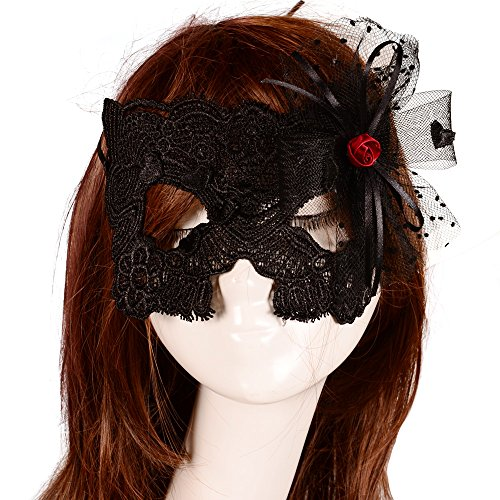 Yazilind Lolita Gothic Red Rose Bow Masquerade Fancy Dress Lady Black Lace Mask