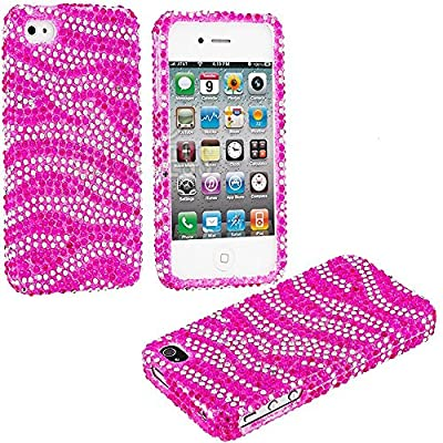 myLife Hot Pink Zebra Stripes - Rhinestone Series (2 Piece Snap On) Hardshell Plates Case for the iPhone 4/4S (4G) 4th Generation Touch Phone (Clip Fitted Front and Back Solid Cover Case + Rubberized Tough Armor Skin)