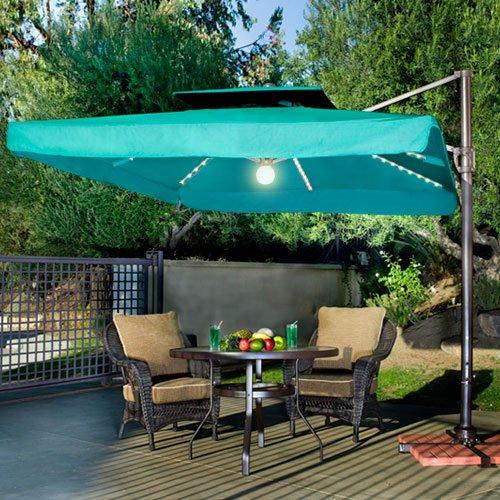 Portofino Pro II 10u0027 Square Lighted Offset Patio Umbrella