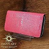 Days Art(デイズアート)牛革ラウンドファスナー長財布 希少エイ皮 サドルレザー スティングレイレザーウォレット ジッパータイプ ピンク
