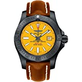 Breitling Avenger II Seawolf Yellow Dial Mens Watch on Brown Leather Strap (Color: Yellow)