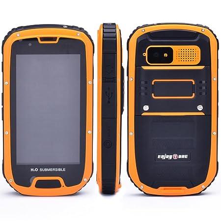 """EnjoyTone® Etanche à la poussière Résistant aux chocs Android IP68 Mtk6589 Quad Core RAM 1GB 4GB de ROM 8.0MP 4.3 """"WCDMA / GSM 3G Compass GPS smartphone avec carte de garantie d'Bestore (jaune)"""