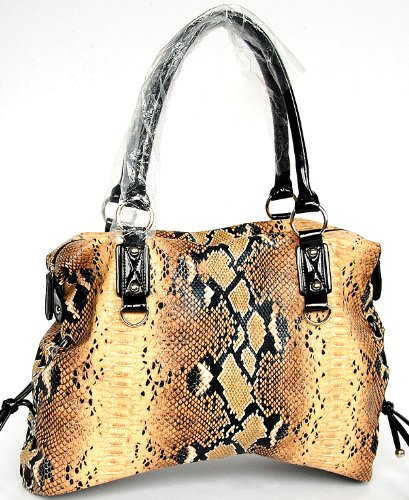 Large Snake Print Leather Handbag By Fash