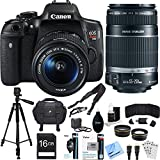 Canon EOS Rebel T6i Digital SLR Camera Kit with EF-S 18-55mm and 55-250mm Lens Bundle includes Camera - Lenses - 16GB SDHC Memory Card - Bag - Tripod - 59mm Filter Kit - Beach Camera Cloth and More
