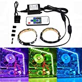 QiLi PC Case Light LED Strip Light RGBW Color Changing with Remote Control and Magnetic for Computer Case(2 x 11.8inch) (Color: Multi color, Tamaño: 2x 11.8inch)