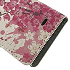 JUJEO Leather Flip Cover with Card Slots and Stand Pink Plum Blossoms Pattern for Nokia X A110 Dual SIM/X Plus Dual SIM - Non-Retail Packaging - Pink