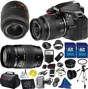Nikon D3300 24.2 MP CMOS Digital SLR, NIKKOR 18-55mm f/3.5-5.6 Auto Focus-S DX VR, Tamron 70-300mm DI LD Zoom, 2pcs 16GB Memory, Wide Angle, Telephoto, Flash - International Version