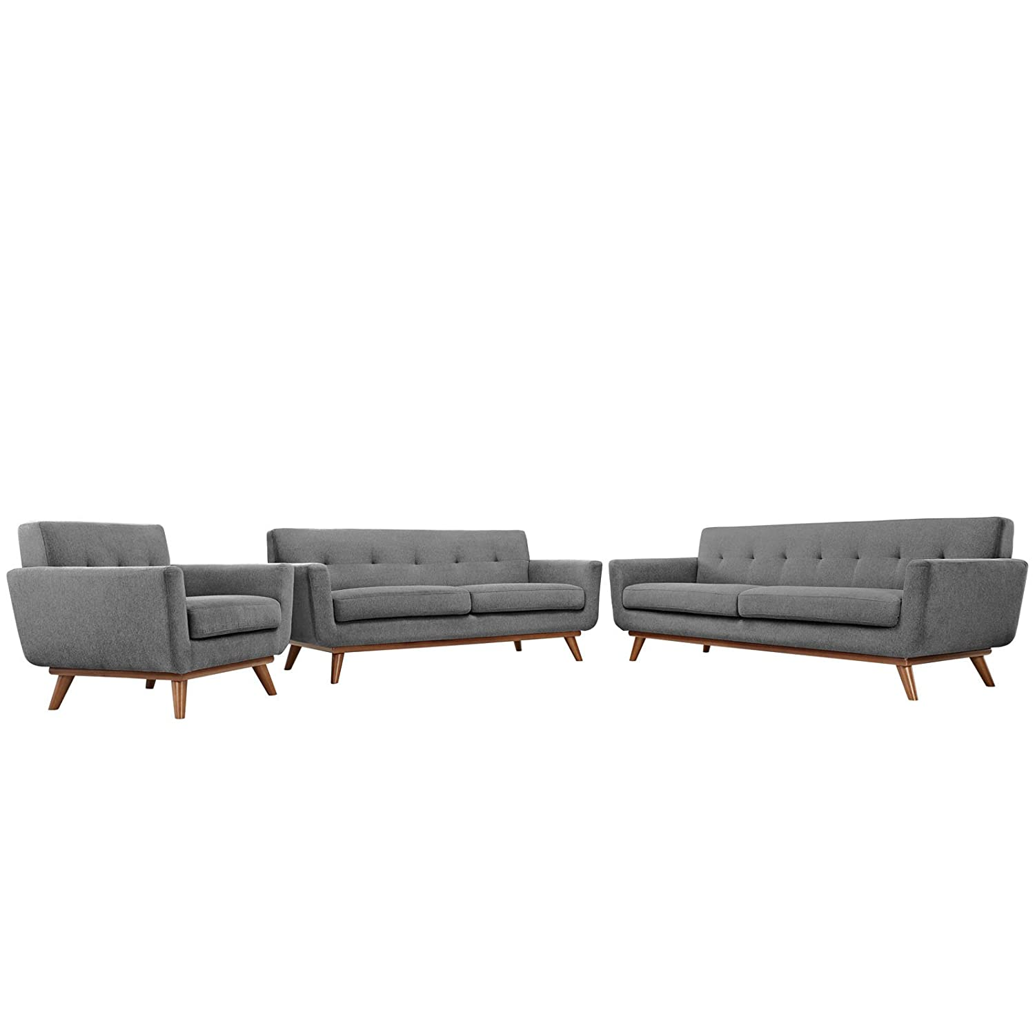 Modern Contemporary Sofa Loveseat and Armchair (set of three) - Grey Fabric