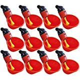 4Clovers 12pcs NO PECK Automatic Poultry Watering Drinker Cups Float Style Gravity Feed Waterers Chicks Chicken Duck Quail (Color: Red, Tamaño: 3.54''x2.09''x1.57'' inch)