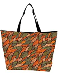 Snoogg Colorful Leaves Pattern Designer Waterproof Bag Made Of High Strength Nylon