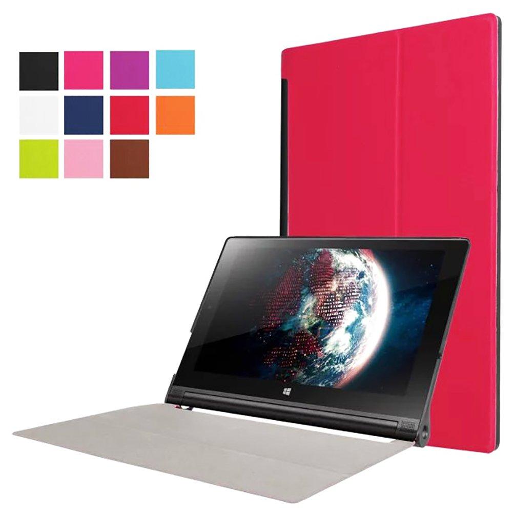 Housse coque etui en pu cuir rose pour lenovo yoga tablet for Housse lenovo yoga 500