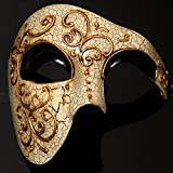 Vintage Collection Venetian Mask Masquerade Mardi Gras for Men (Black)