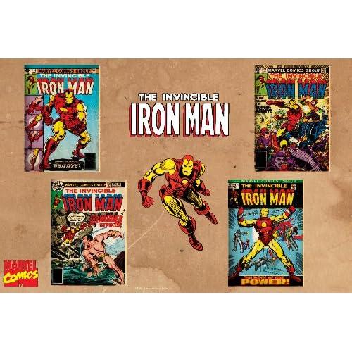 Marvel Comics Retro Invincible Iron Man Comic Book Covers , 20 x 30 Poster Print