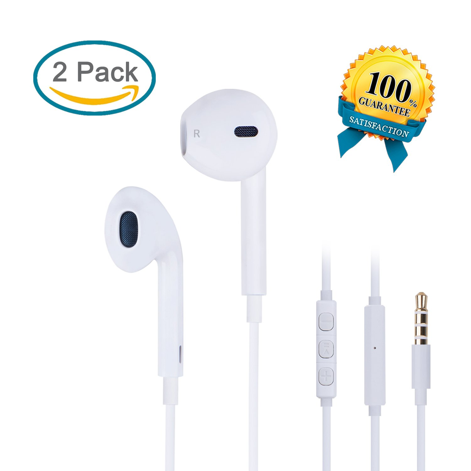EverDigi 2 Pack Earphones Earbuds Headphones with Mic & Volume Control on the iOS and Android Devices - For iPhone 6 6s, 6 Plus, 6s plus, iPhone 5s 5c 5, iPad /iPod (White)