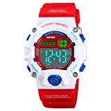 Boys Camouflage LED Sports Watch,Waterproof Digital Electronic Casual Military Wrist Kids Sports Watch with Silicone Band Luminous Alarm Stopwatch Girls Watches (Red White Case (Age 5-9)) (Color: Red White Case (Age 5-9))