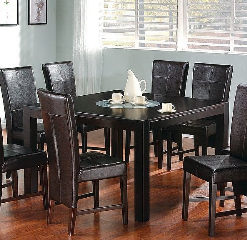 Buy Low Price Coaster 9pc Cappuccino Dining Table w/Lazy Susan & Brown Parson Chair Set (VF_dinset-100971-100972)