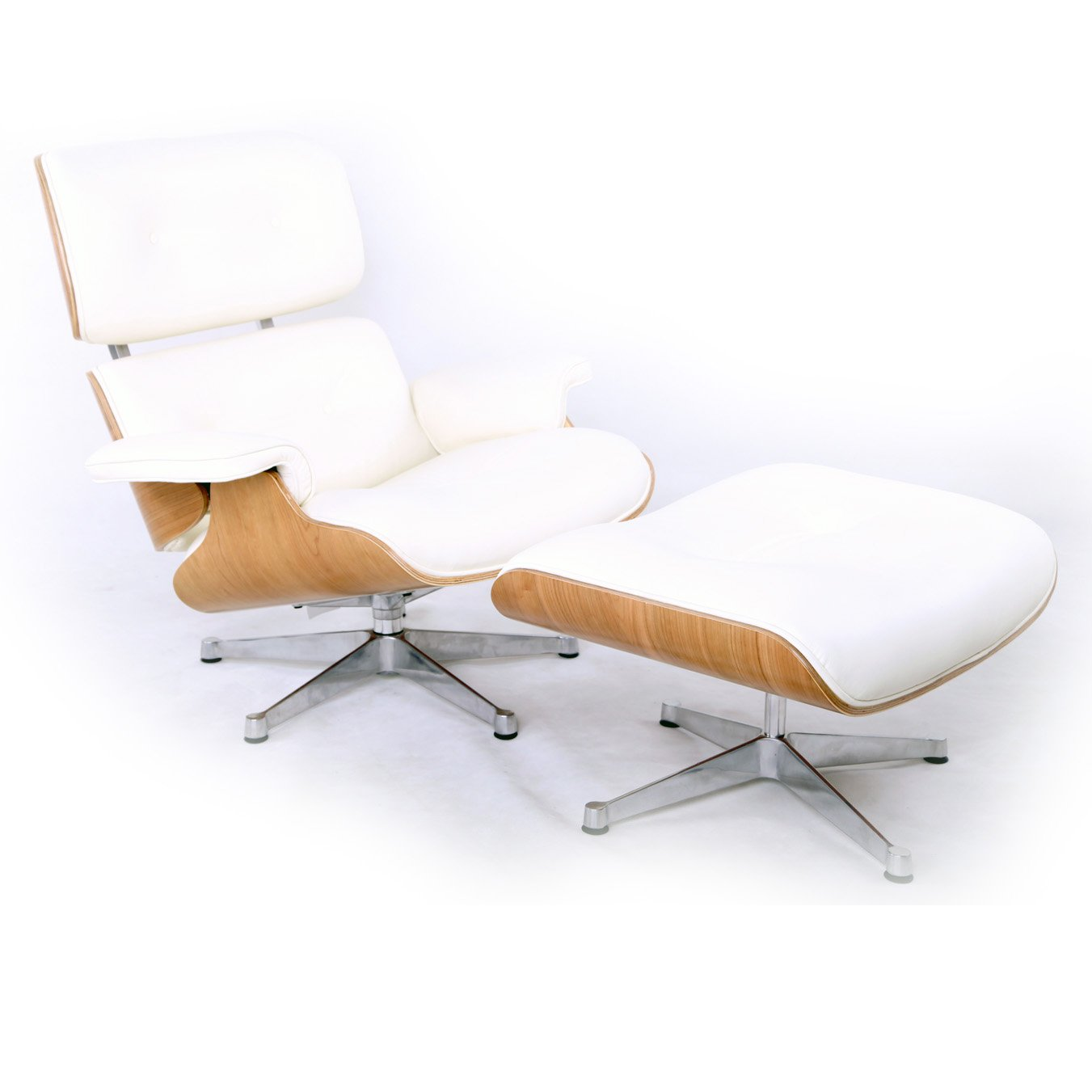 Kardiel Eames Style Plywood Lounge Chair U0026 Ottoman, White  Aniline/Ash/Silver Base