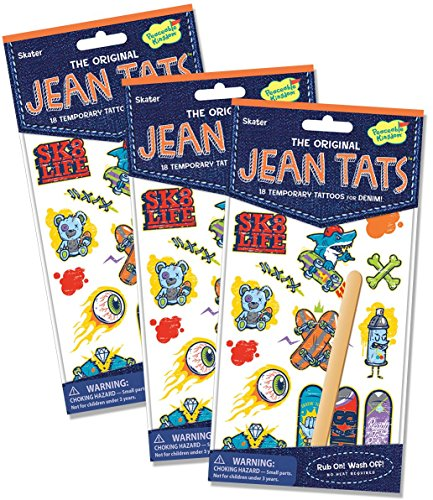 Peaceable Kingdom Jean Tats Skater Temporary Tattoos for Fabric - 3 Pack