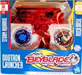 Beyblade Exclusive Metal Fusion Duotron Launcher Red Chrome BB37 Storm Aquario BB51 Rock Orso Included