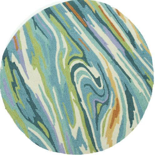 Loloi Rugs OLVAHOL04TEML300R Olivia Collection Hand-made 100-Percent Polyester Round Area Rug, 3-Feet by 3-Feet, Teal/Multi