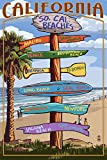 Southern California Beaches - Destination Sign (9x12 Art Print, Wall Decor Travel Poster)