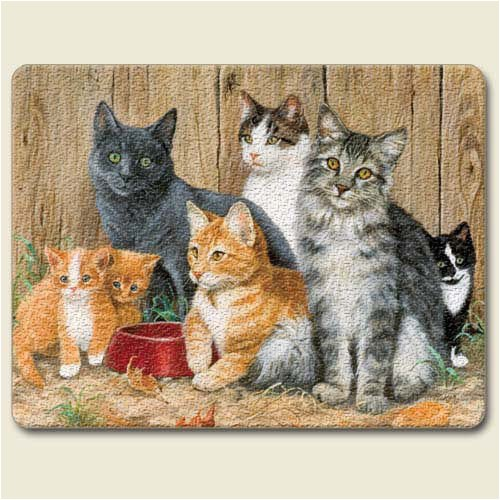 Artworks Home Accents Barn Cats Tempered Glass Small Cutting Board